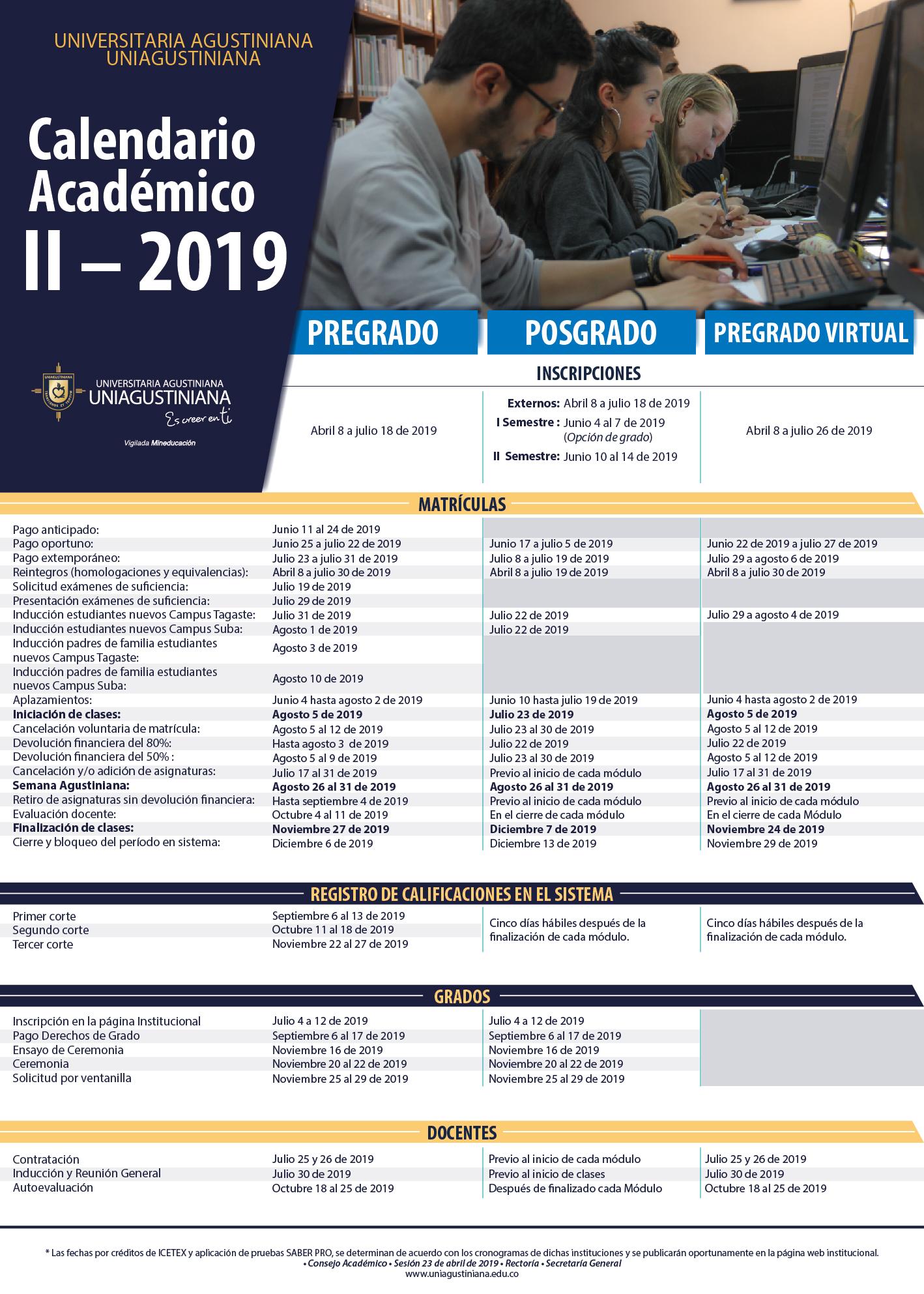 Calendario Financiero Uniminuto 2019 2.Calendario Academico 2019 Ii Universidad Agustiniana